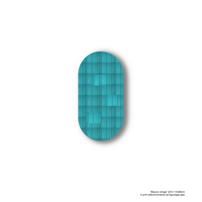 blauwe vitrage